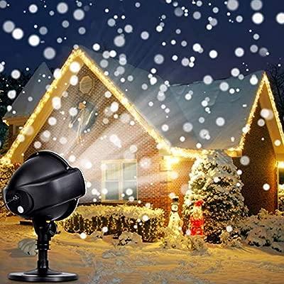 LED Proyector Luces de Navidad – CroLED Lámpara de Proyección LED Nieve Luz Decrativa con Control Remoto Impermeable Iluminación de Jardín para Fiesta ...