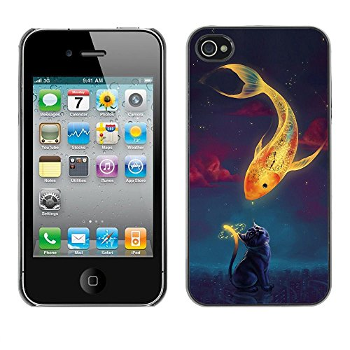 GooooStore/Housse Etui Cas Coque - Magical Gold Fish Cat Time Clock Art Drawing - Apple iPhone 4 / 4S