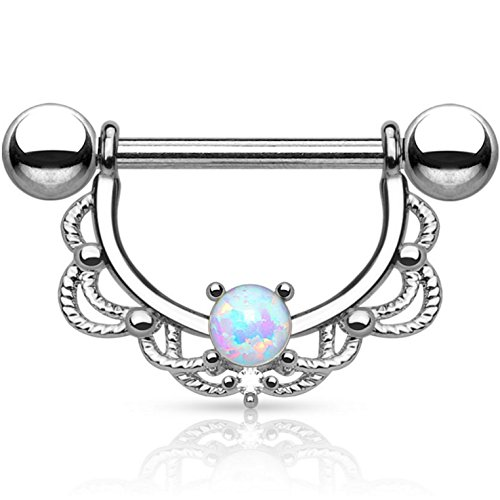 Pair of Synthetic Opal Filigree Lace Nipple Piercing Rings Barbells - 14G 5/8