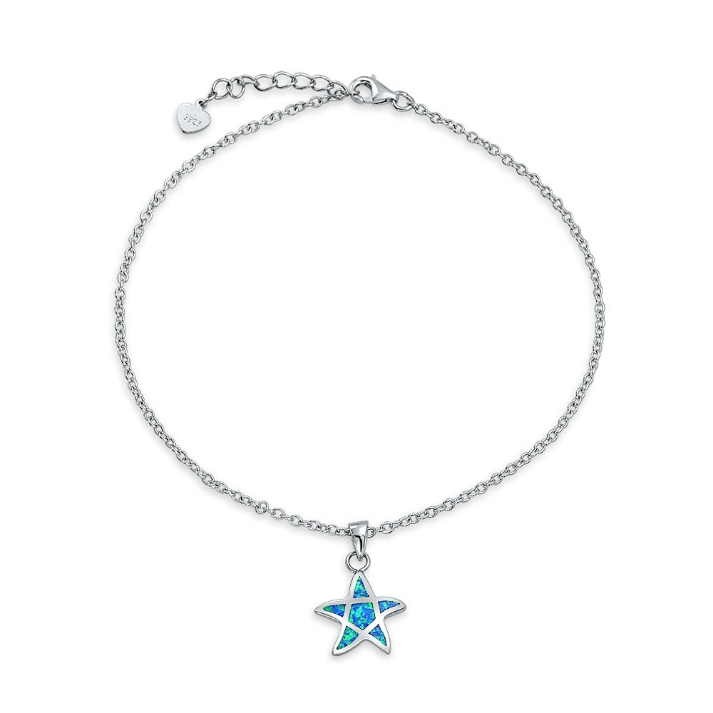 Nautical Summer Starfish Charm Anklet Bracelet Created Blue Opal Inlay 925 Silver 9 Inches Lobster Lcasp