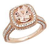 10K Rose Gold Round Morganite & White Diamond Ladies Halo Style Bridal Engagement Ring (Size 8)