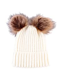 MonkeyJack Baby Girls Boys Winter Warm Knit Hat Toddler Hairball Beanie Cap - White, as described