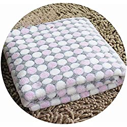 cola-site Soft Flannel Pet Dog Blanket Dots Printed Breathable Dog Cat Bed Mat Warm Pet Sleeping Cushion Cover for Pet Dog Cat Products,Rose Red,L