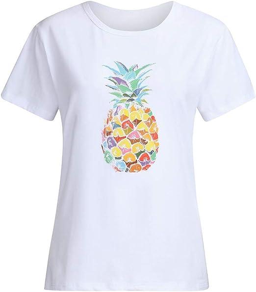 Moonuy - Camiseta de Mujer a la Moda de piña con Estampado de piña para Mujer, Cuello Redondo, Top Informal, de Manga Corta Blanco Blanco XXXL: Amazon.es: Relojes