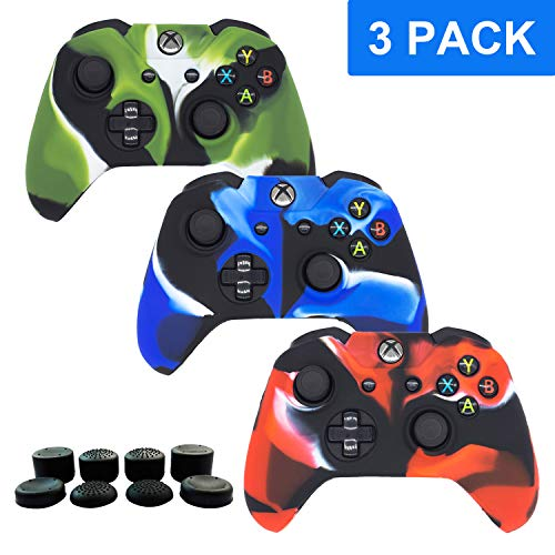 (Xbox One Controller Silicone Cover Skins, BRHE 3 Package Anti-slip Protector Skin Case Accessories Set for Microsoft Xbox 1 Wireless/Wired Gamepad Joystick with 8 x FPS Pro Thumb Grip Caps (Camo))