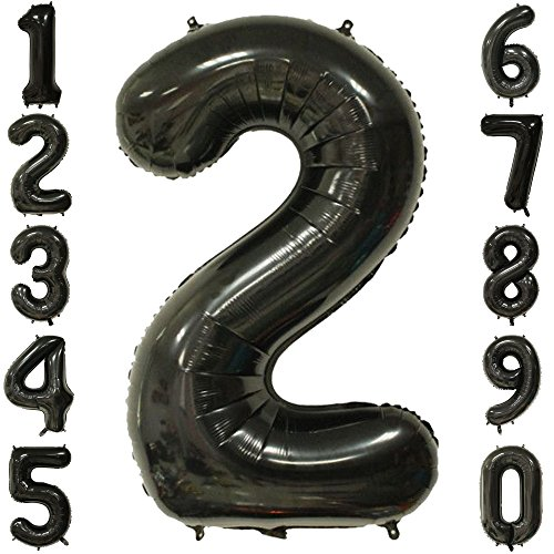 1973 OI 40 Inch Extra Giant Number Balloons Black Mylar Foil Large Number 2 Big Helium Balloon Birthday Party Decoration