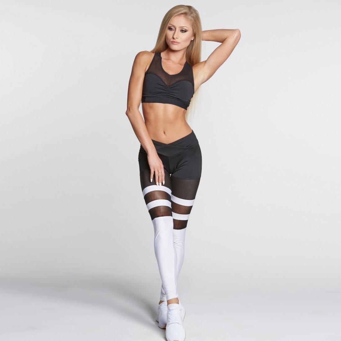 Igemy Frauen Sport Gym Yoga Workout Mid Taille Laufen Hosen Fitness Elastische Leggings