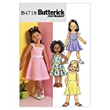 BUTTERICK PATTERNS B4718 Children's/Girls' Dress, Size CL (6-7-8)