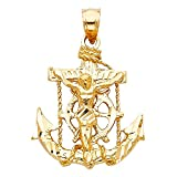 Jesus Cross Mariner Pendant 14k Yellow Gold Anchor Crucifix Charm Solid Hip Hop Style 25 x 22 mm