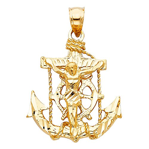 Jesus Cross Mariner Pendant 14k Yellow Gold Anchor Crucifix Charm Solid Hip Hop Style 25 x 22 mm by ZenJewels