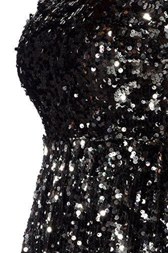 Schwarzes Minikleid mit schwarzen und silbernen Pailletten und ...