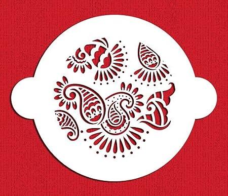 Paisley Henna Mehndi Patterns Cake Top Cupcake Stencil Flexible