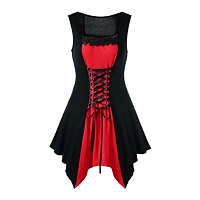 F_Gotal Womens Summer Gothic Dress Lace Up Sleeveless Bandage Vintage Steampunk Gothic Mini Dress Cosplay Retro Gown at Women's Clothing store