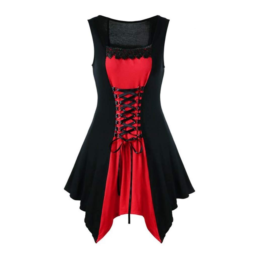 Toamen Womens Evening Party Dress Sale 2019 New Retro Lace Edge Bandage Sleeveless Mini Formal Dress