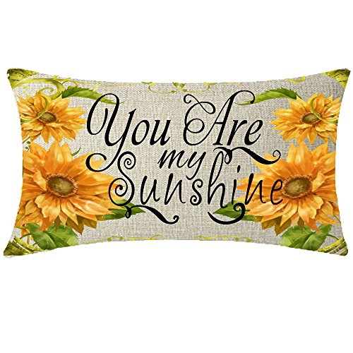 Sunflower Pillow (NIDITW Nice Gift Rustic Countryside Sunflower With Sweet Quote You Are My Sunshine Cotton Linen Lumbar Throw Pillow Case Cover Home Chair Couch Outdoor Decor Oblong 12x20 inches)