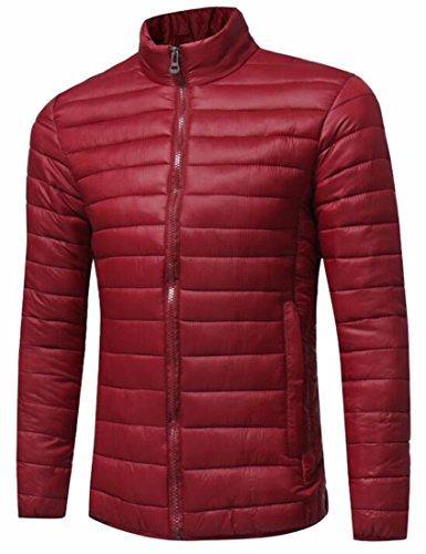 Hot Sale-UK Men's Stand Collar Packable Lightweight Casual Down Jacket Coat Wine Red