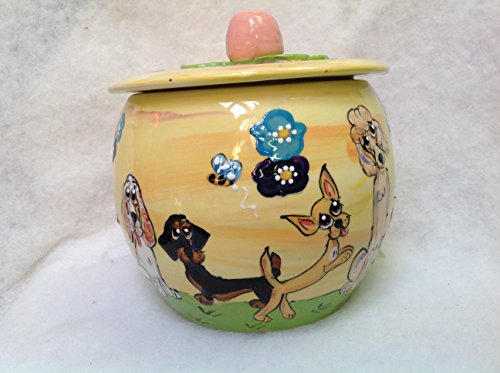 Dachshund Treat Jar. Personalized at no Charge. Signed by Artist, Debby Carman. by Faux Paw Productions, Inc., Laguna Beach, CA