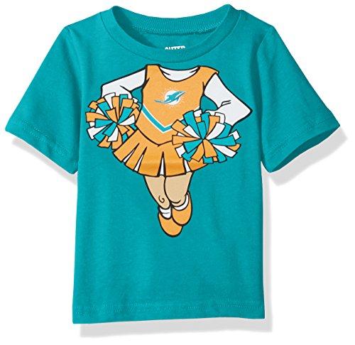 Outerstuff NFL Infant Dream Cheerleader Short Sleeve Tee-Aqua-12 Months, Miami Dolphins