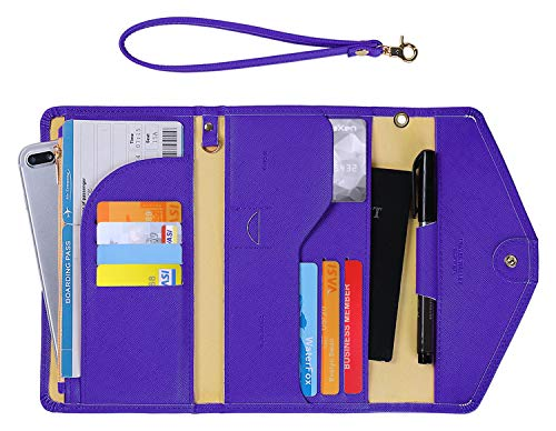 (Zoppen Passport Holder Travel Wallet (Ver.5) for Women Rfid Blocking Multi-purpose Passport Cover Case Document Organizer Wrist Strap,Purple)