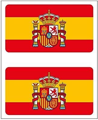 Artimagen Pegatina Bandera Rectángulo 2 uds. España con Escudo 48x26 mm/ud.: Amazon.es: Coche y moto