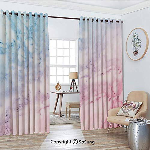- Thermal Insulated Blackout Patio Door Drapery,Pastel Toned Cloudy Hazy Crack Lines Stained Antique Shabby Chic Design Room Divider Curtains,2 Panel Set,100