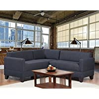 Carolina Accents Makenzie 3-Piece Sectional Sofa Set, Graphite