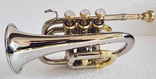 Great Deal Pocket Trumpet 3V Pro 2 Tone with Mouth Piece n Case by SAI MUSICAL