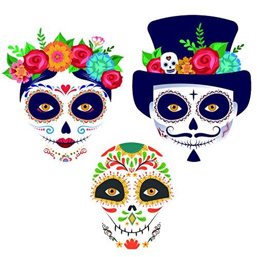 Sugar Skull Face Tattoo Kit, Day of the Dead Halloween Tattoos, Families Temporary Tattoos 8 Packs