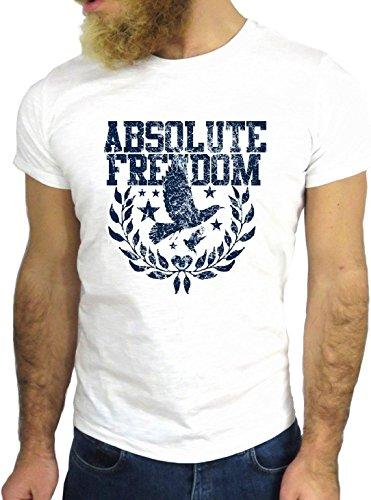 T SHIRT JODE Z1558 ABLSOLUTE FREEDOM EAGLE AMERICA USA FUN COOL FASHION NICE GGG24 BIANCA - WHITE S