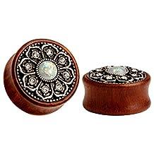 KUBOOZ(1 Pair) Vintage Wood Opal Center Flower Ear Plugs Tunnels Gauges Stretcher Piercings