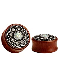 KUBOOZ(1 Pair) Vintage Wood Opal Center Flower Ear Plugs Tunnels Gauges Stretcher Piercings