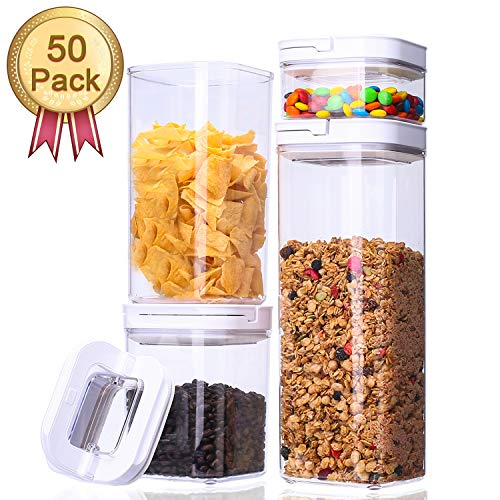 Airtight Food Storage Container Set – CERBIOR 4 Piece Set Heavy Duty BPA Free Plastic Storage Clear Plastic, Keep Food Dry and Fresh with Easy Lock, 50 Pack