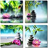 "789Art – Bamboo Zen Canvas Wall Art Spa Artwork for Walls Contemporary Pictures of Space Home Decorations for Living Room Office Bedroom Bathroom Modern Decor(12""x 12""x 4 Panels Framed)"