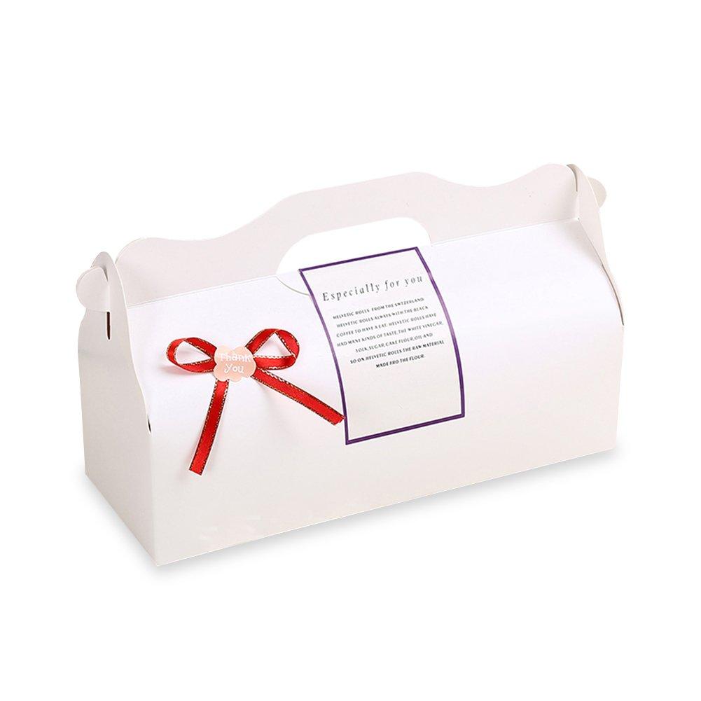 Zhi Jin 2Pcs Elegent Kraft Cake Boxes Cupcake Wrapper Macaron Bakery Party Gift Box With Ribbon Handle Large Black Cardboard