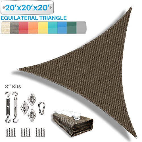 Patio Paradise 20 x 20 x 20 Sun Shade Sail with 8 inch Hardware Kit, Brown Equilateral Triangle Canopy Durable Shade Fabric Outdoor UV Shelter – 3 Year Warranty – Custom