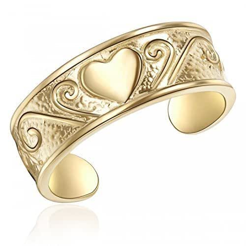10K Yellow Gold Heart Toe Ring Heart Imprinted Yellow Gold Toe Ring, Gold Heart Toe Ring