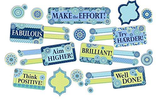 (Eureka Blue Harmony Motivational Classroom Bulletin Board Name Tag Set, 53)