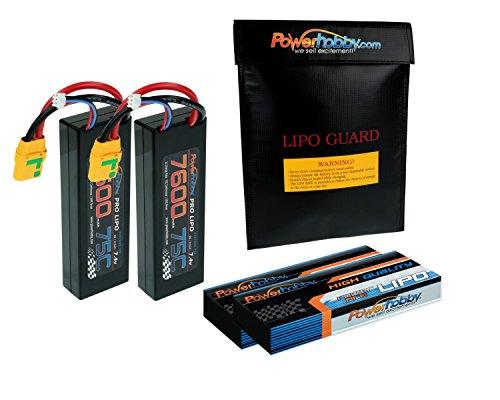 PowerHobby 2s 7.4V 7600mAh 75C XT90 2-Pack Lipo Battery w XT90 Connector Plug Hard Case Fits : Arrma Fazon Outcast Nero Nero Big Rock Kraton Talion Senton Typhon - Box Kraton