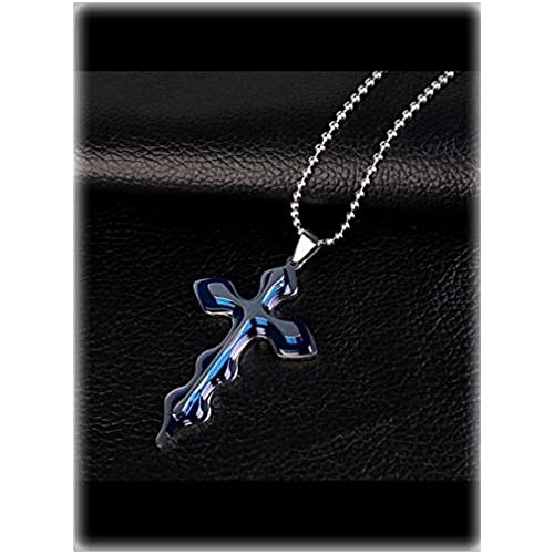 Men Stainless Steel Cross Pendant Metal Chain Necklace Blue