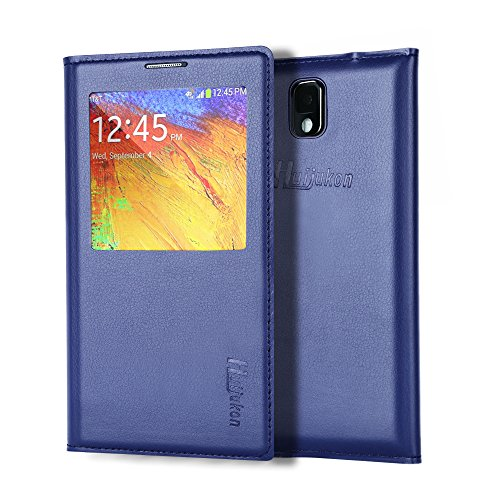 Note 3 Case, Galaxy Note 3 Case, Huijukon Elegant S-view Smart Flip Leather Case Cover with Auto Sleep/Awake Function for Samsung Galaxy Note 3 III (Dark Blue)