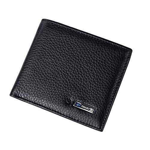 TJEtrade Wallets for Men Retro Cowhide Leather Smart Bluetooth Anti-theft Purse (Black)