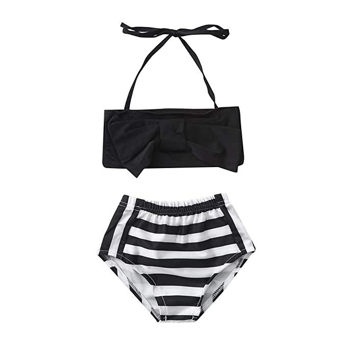 8d64876f7 K-Youth® Traje de baño Dos Piezas Niña Rayas Bowknot Bikinis de Cuello  Halter con ...
