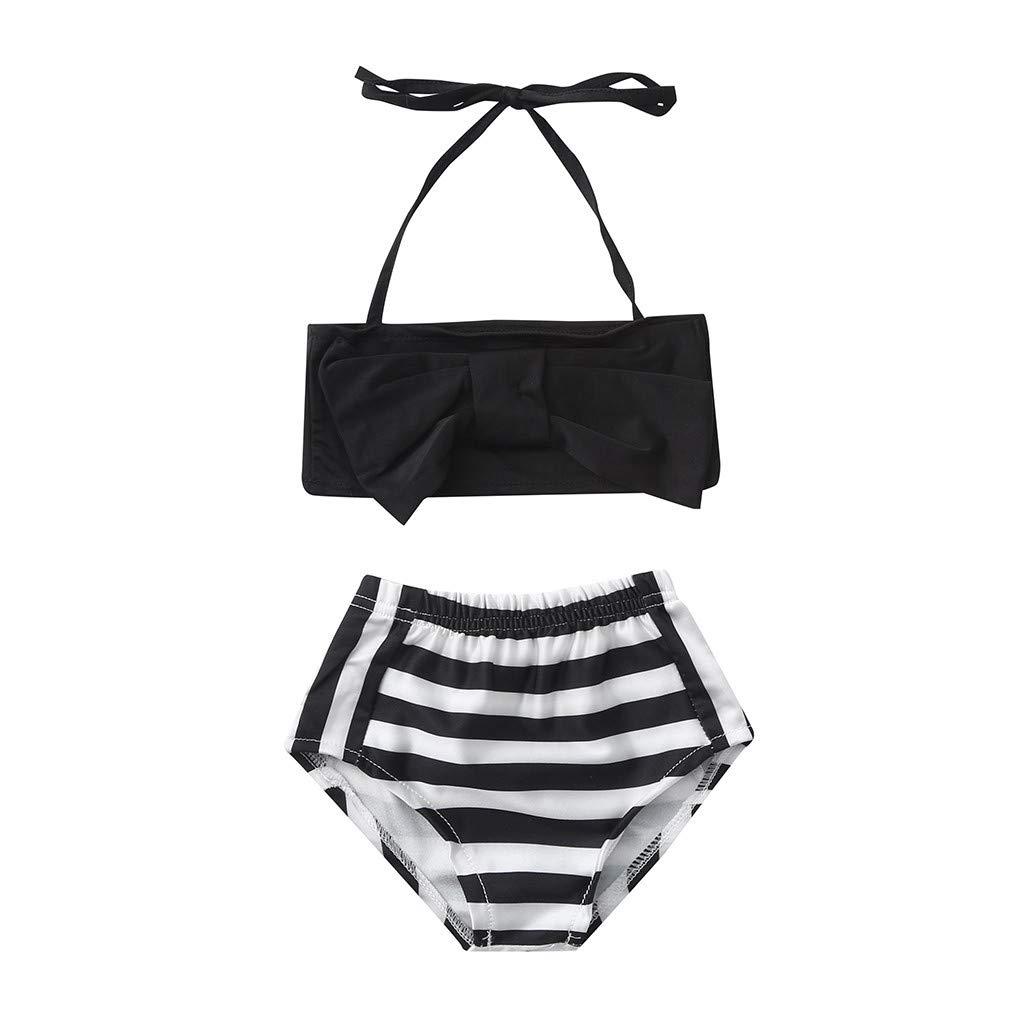 Summer Baby Girls Tankini Bow Striped Print Sling Swimwear Swimsuit Bikini Outfits (Black, 4-5 Years)
