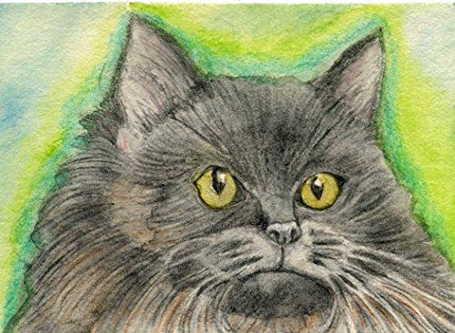 ACEO ATC Black Persian Cat Pet Watercolor Pencil Art Original -Free Shipping-Carla Smale