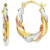 IceCarats 14k Yellow Gold White Rose Scalloped Hoop Earrings Ear Hoops Set For Women