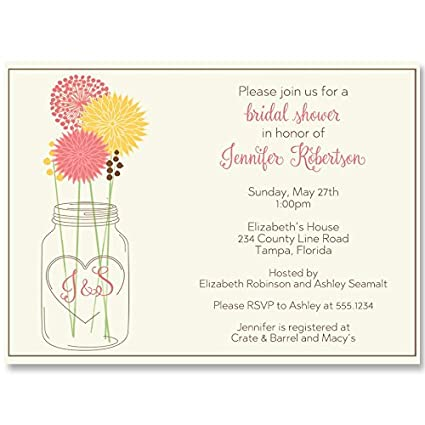 Amazon mason jar bridal shower invitations coral yellow mason jar bridal shower invitations coral yellow flowers wedding initials filmwisefo