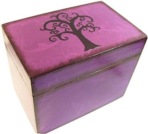 recipe box wood holds 4x6 recipe cards purple tree of life