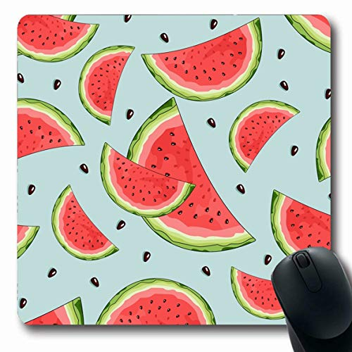 Ahawoso Mousepad Oblong 7.9x9.8 Inches Flora Watercolor Beach Watermelon Tropical Leaves Food Miami Drink Botanical Brazil Dessert Exotic Office Computer Laptop Notebook Mouse Pad,Non-Slip ()