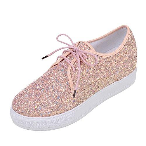 Mee Shoes Damen runde Durchgäniges Plateau Pumps Pink
