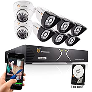 TIGERSECU AHD 720P 960P 960H 8-Channel Security DVR System, 1TB Hard Drive - Six 1.3mp Outdoor and Two Indoor Cameras, 65ft /50ft Night Vision (White)